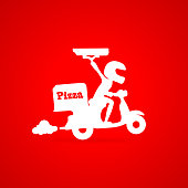 Funny deliver pizza motor bike silhouette vector