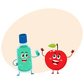 Funny dental mouthwash, mouth rinse and apple character, teeth care