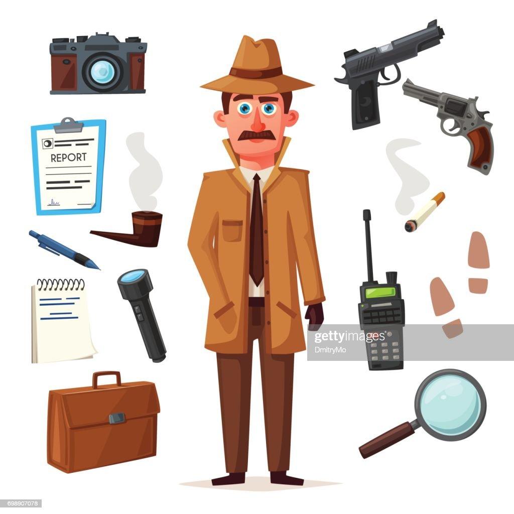 Funny detective character. Cartoon vector illustration