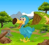 funny dodo bird cartoon with mountain cliff landscape background