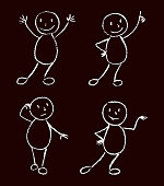 Funny doodle man set. Black and white chalk or wax crayon like kid`s hand drawn.