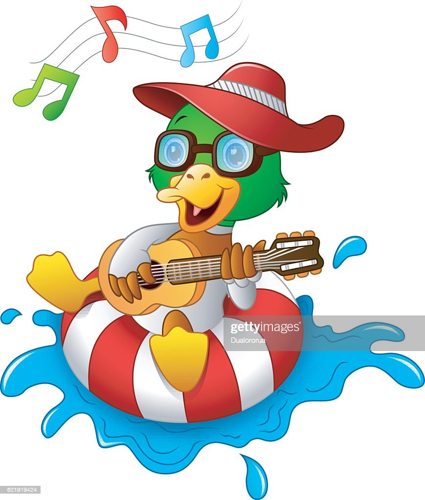 Funny duck cartoon enjoying on the lifebuoy with playing guitar