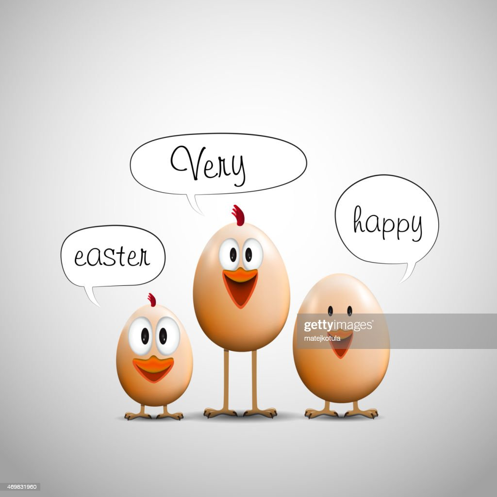 Funny Easter eggs chicks, Happy easter card