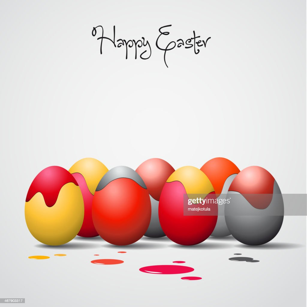 Funny Easter eggs with color stains - background illustration