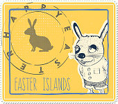 funny easter post stamp