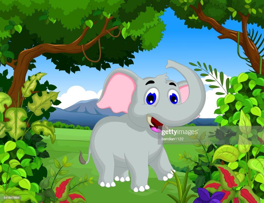 funny elephant cartoon with landscape background