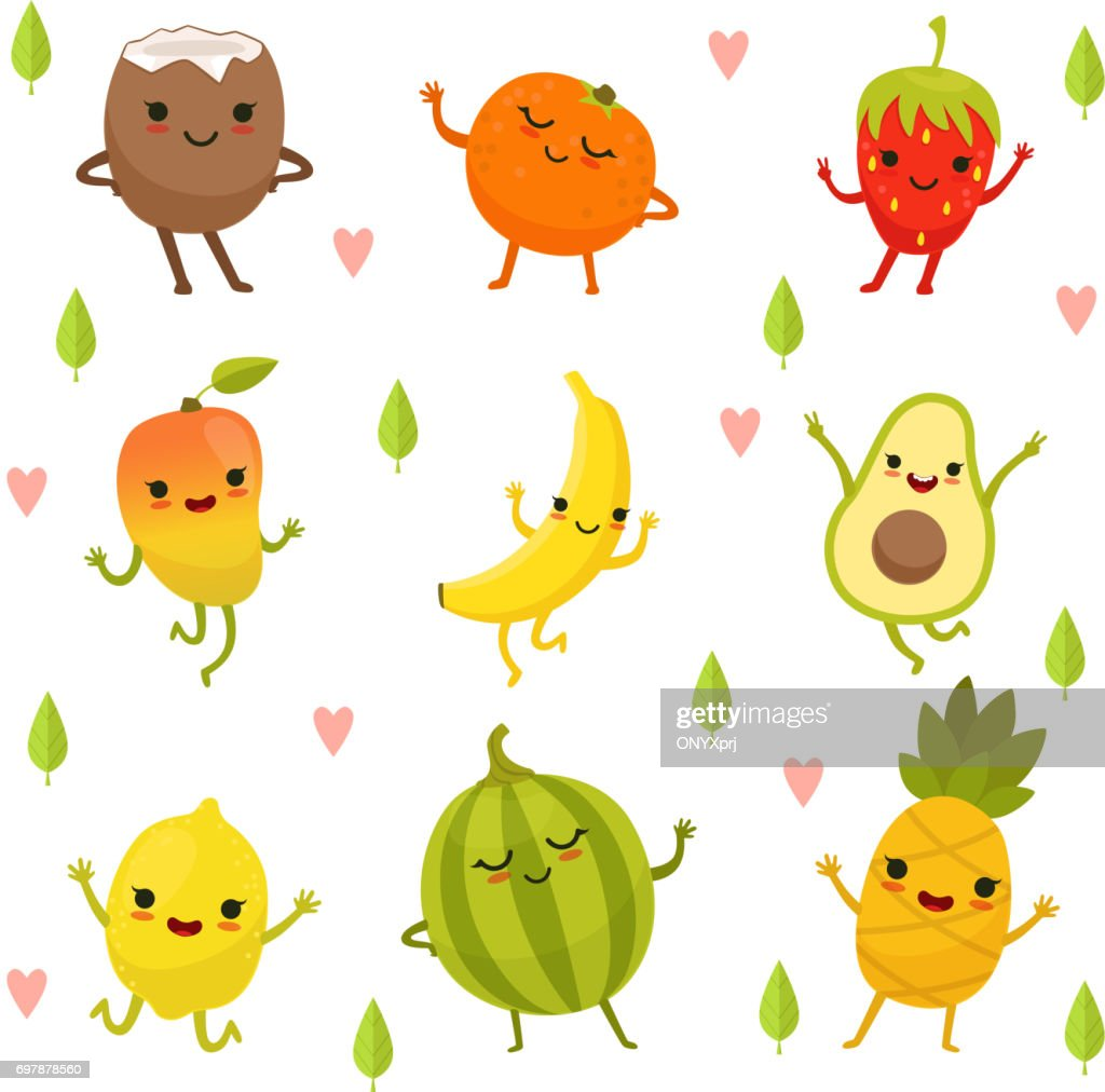 Funny emotion on cartoon fruits and vegetables. Vector illustration set