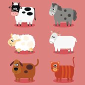 Funny farm animals and pets collection