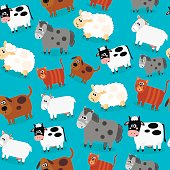 Funny farm animals and pets seamless collection