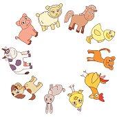 Funny farm animals circle border frame