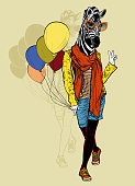 Funny fashion zebra with balloons