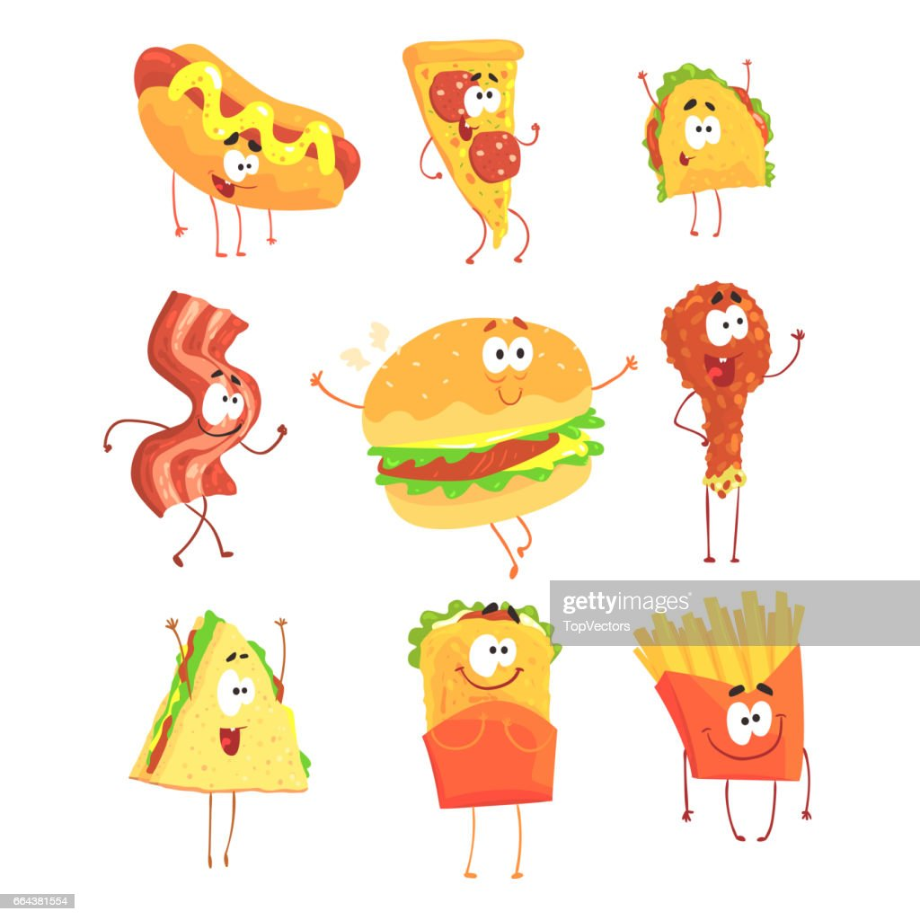 Funny fast food, set for label design. Cartoon detailed Illustrations isolated