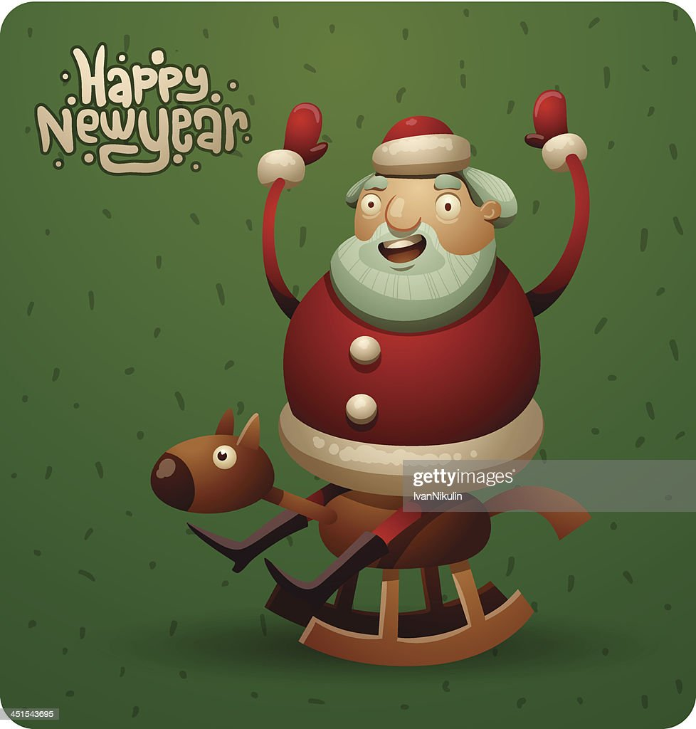 Funny Fat Santa Claus Riding On A Wooden Horse High Res Vector Graphic Getty Images