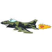 Funny Fighter jet - plane cartoon