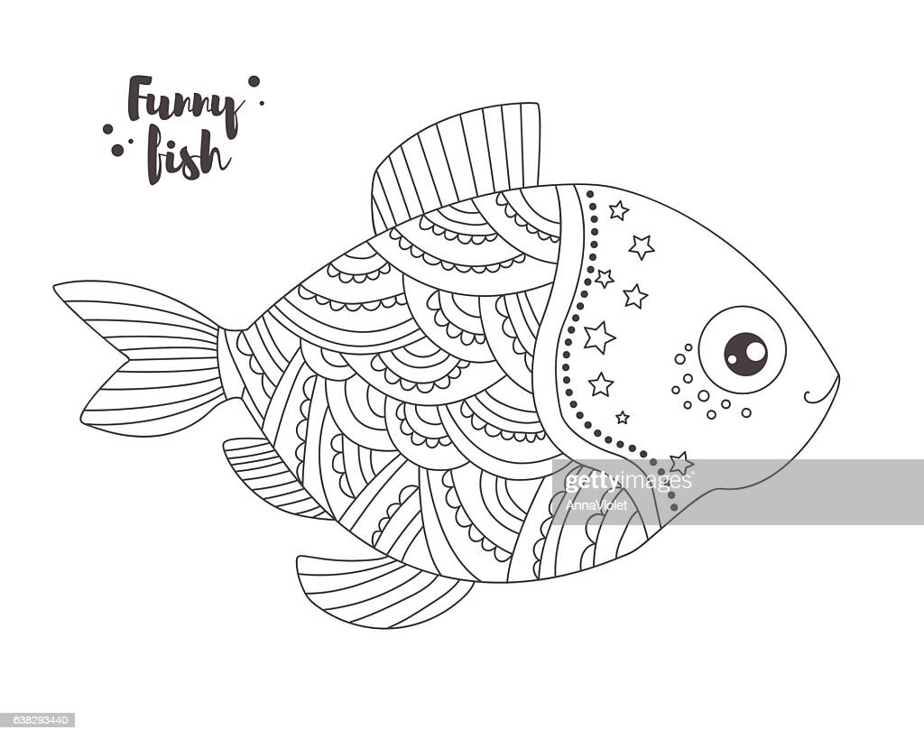 Funny Fish Coloring Book Stock-Illustration - Getty Images