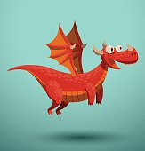 Funny flying dragon, red