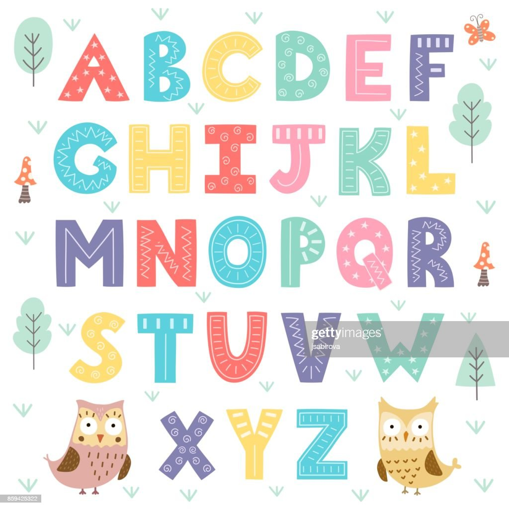 Funny forest alphabet for kids