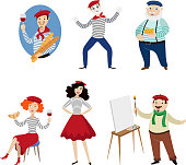 Funny French characters, people, food and culture