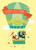 Funny friendly animals in hot air balloon. Hello autumn