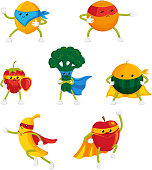 Funny fruit and berry hero, superhero characters