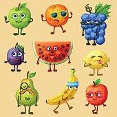 Funny fruit characters isolated on white background. Cheerful food emoji. Cartoon vector illustration: green pear, red apple, yellow banana, purple plum, orange, blue grape, watermelon, lemon, pear
