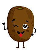 Funny fruit kiwi isolated cartoon character