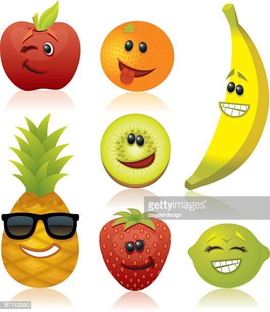 funny fruit - apple fruit stock illustrations, clip art, cartoons, & icons