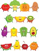 Funny fruits and vegetables characters cartoon illustration