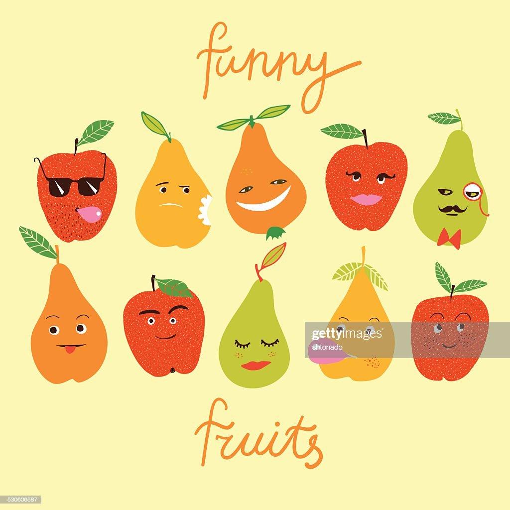 Funny fruits illustration