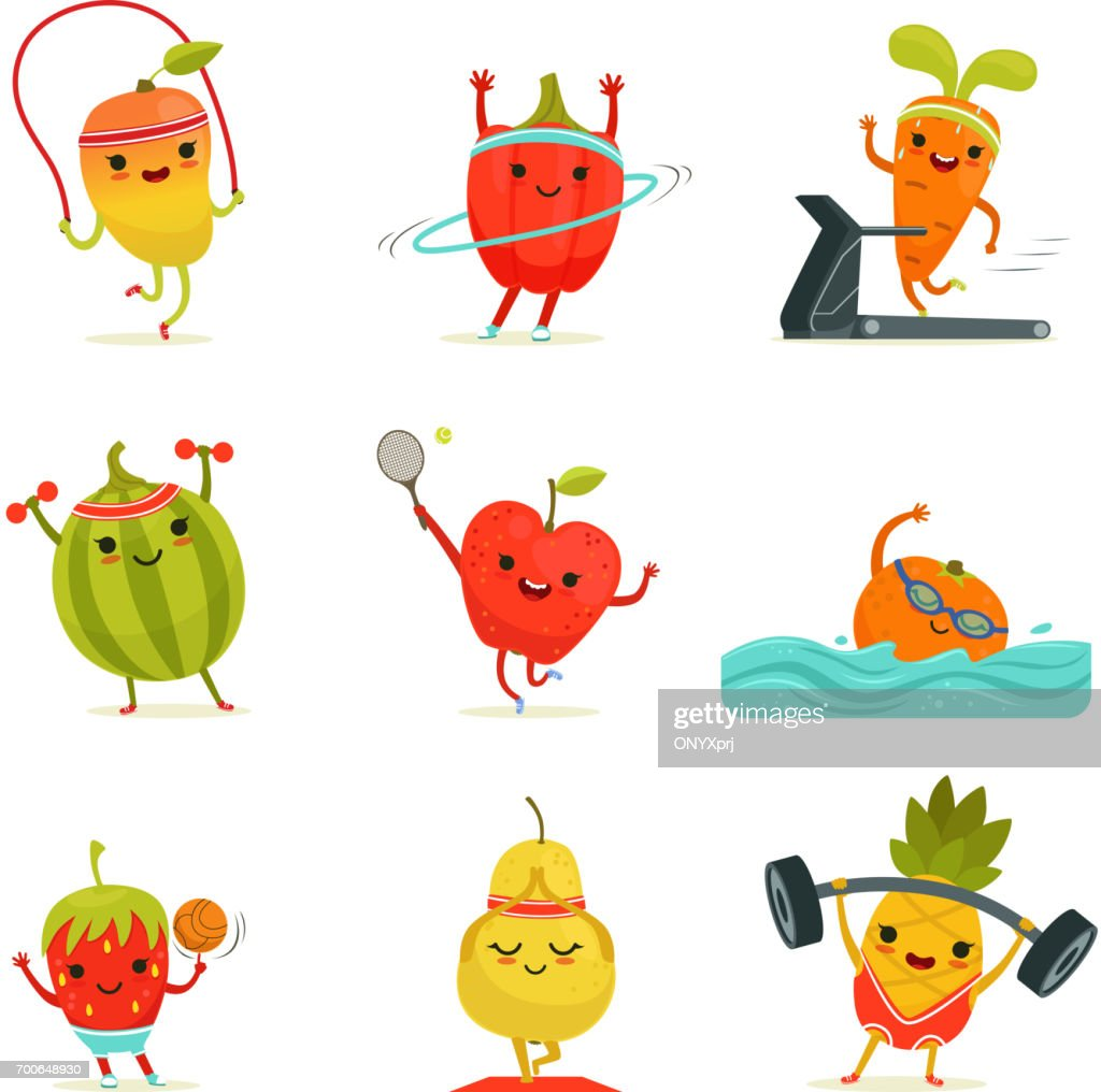 Funny fruits make fitness exercises. Vector cartoon set with diet foods