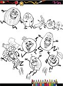 funny fruits set cartoon coloring page