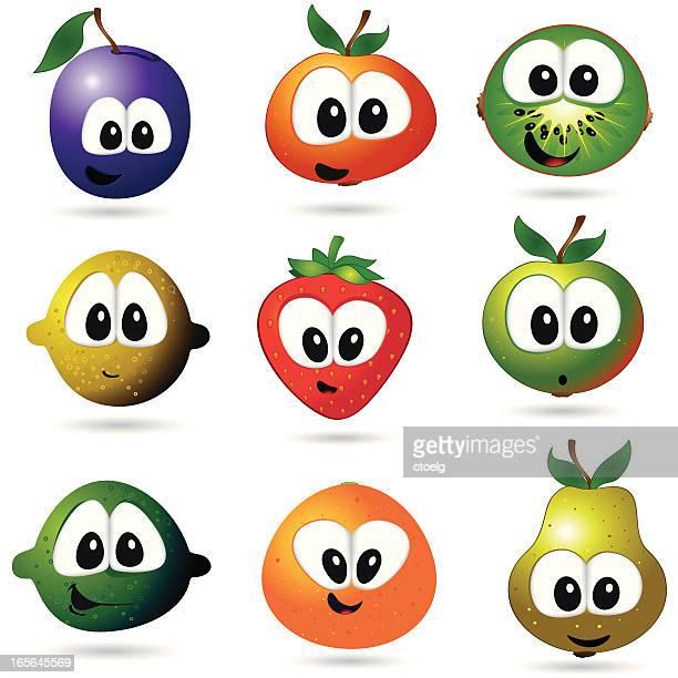 ilustrações de stock, clip art, desenhos animados e ícones de engraçado frutas - cesta de fruta