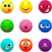 Funny furry faces of monsters. Puffy balls of different colors