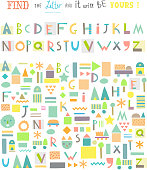 Funny game for kids. Cute alphabet. Isolated. Vector