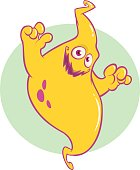 Funny ghost smiling cartoon. Halloween vector illustration