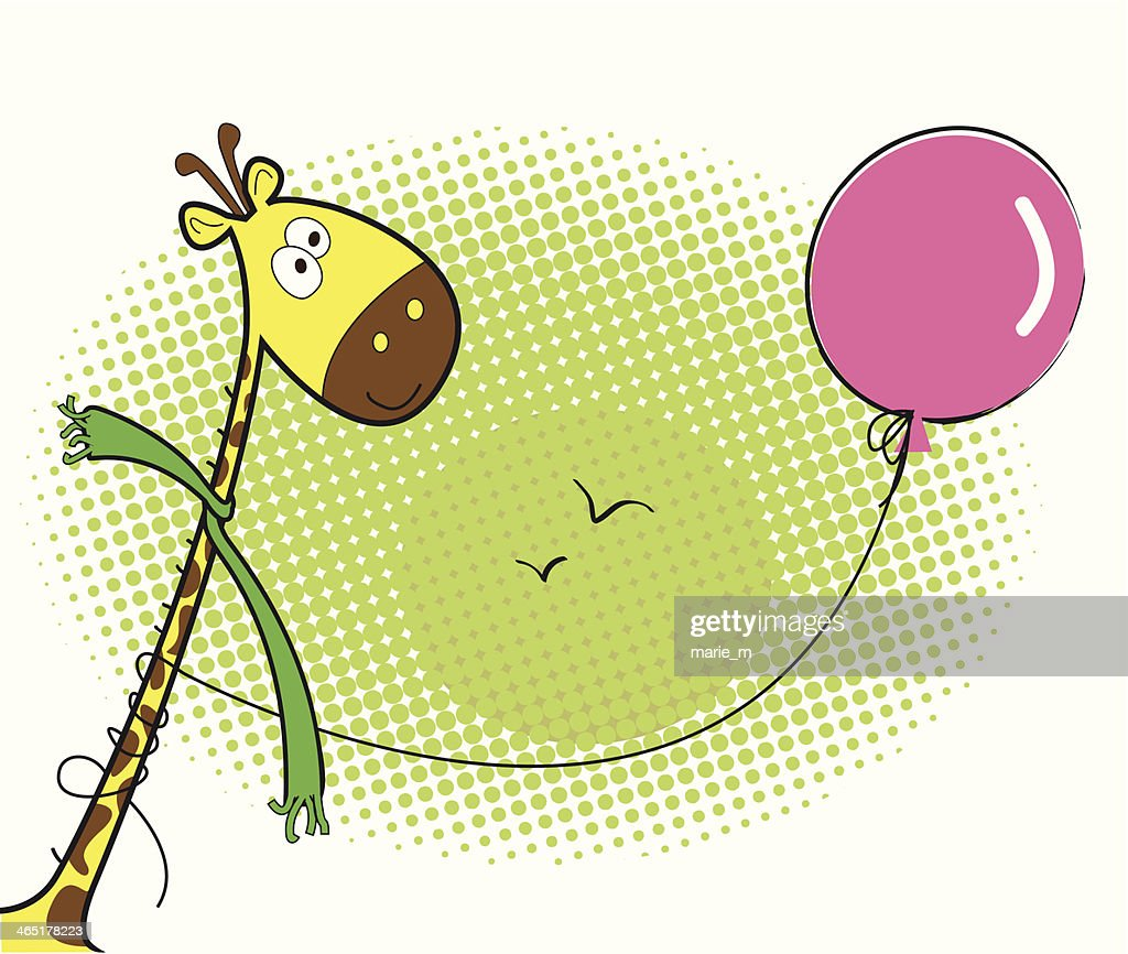 Funny giraffe and a pink balloon