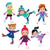 Funny girls in winter clothes ice skating on white background .