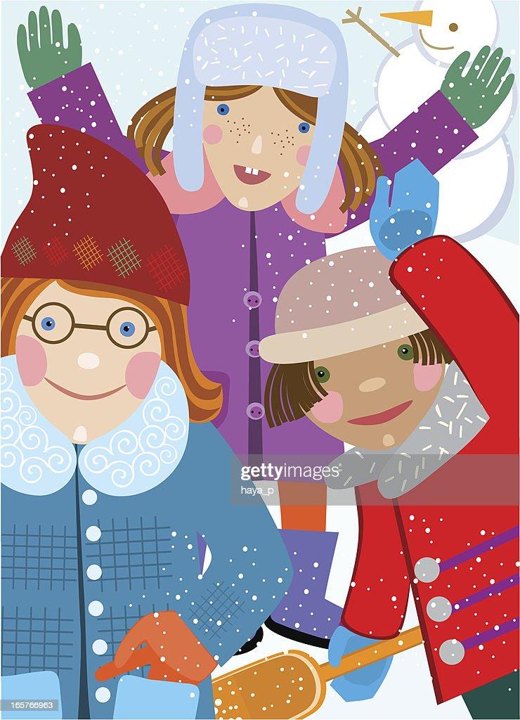 6b0eda28cfe2 Funny Girls In Winter Vector Art