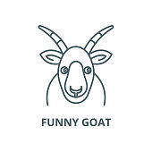 Funny goat vector line icon, linear concept, outline sign, symbol