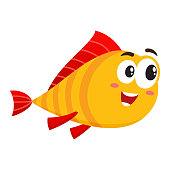 Funny golden fish character with human face interested in something