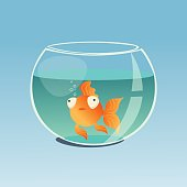 Funny goldfish in a bowl. Vector illustration