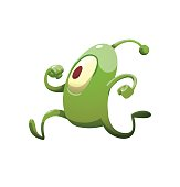 Funny green microbe running somewhere