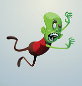 Funny green zombie jumping on someone