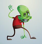 Funny green zombie looking to the right