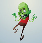 Funny green zombie running somewhere