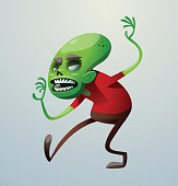Funny green zombie sneaking up to someone