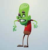 Funny green zombie standing