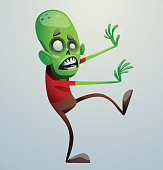 Funny green zombie walking to the right