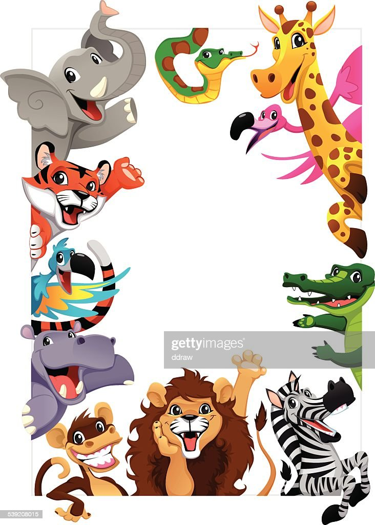 Funny group of Jungle animals