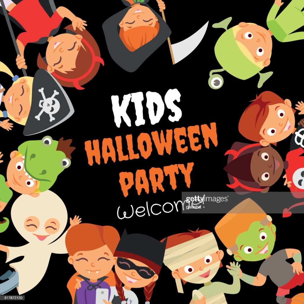 Funny halloween party design concept with happy halloween kids.